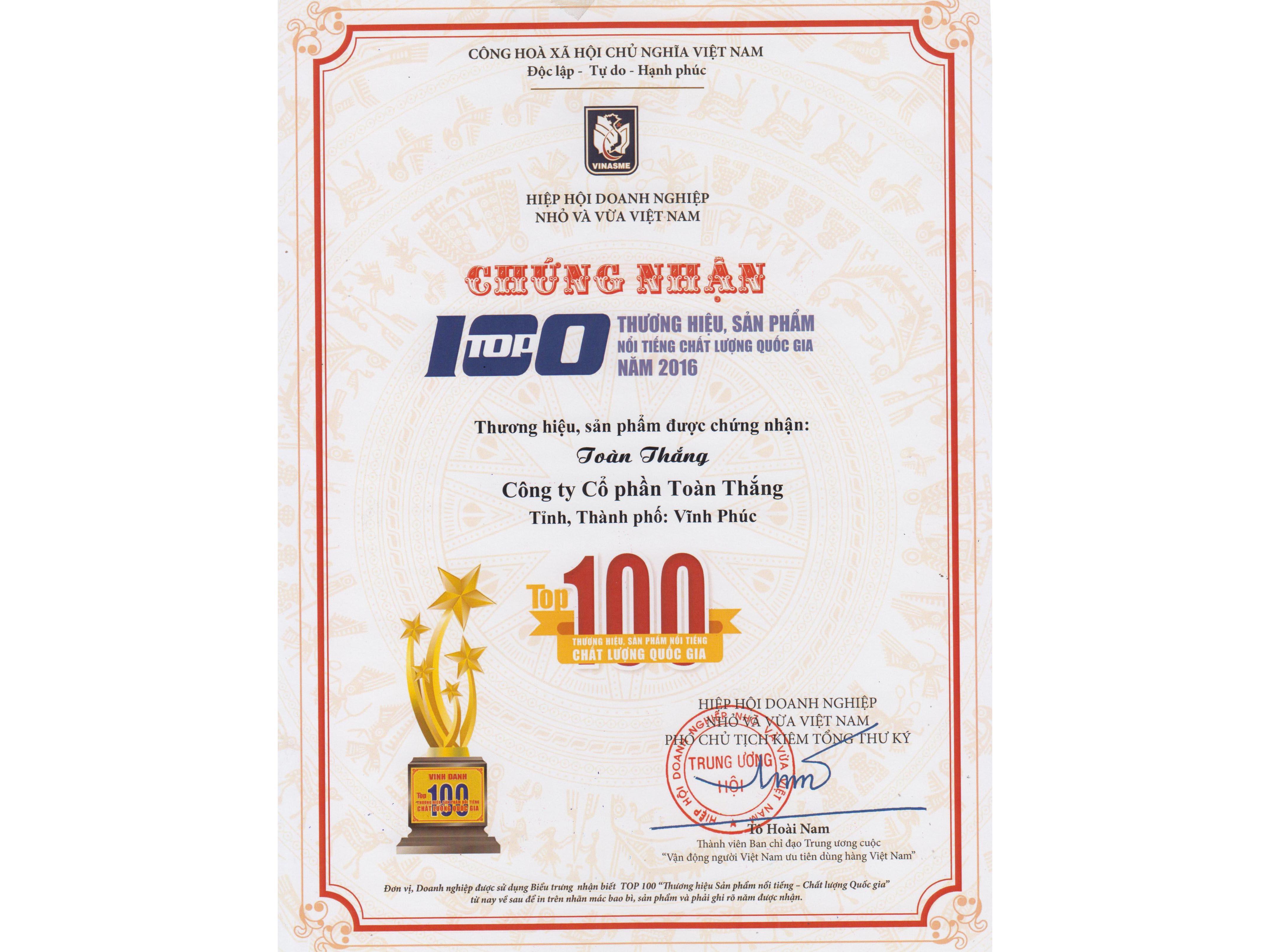 Toàn Thắng được tôn vinh là Top 100 Thương hiệu, Sản phẩm nổi tiếng chất lượng quốc gia